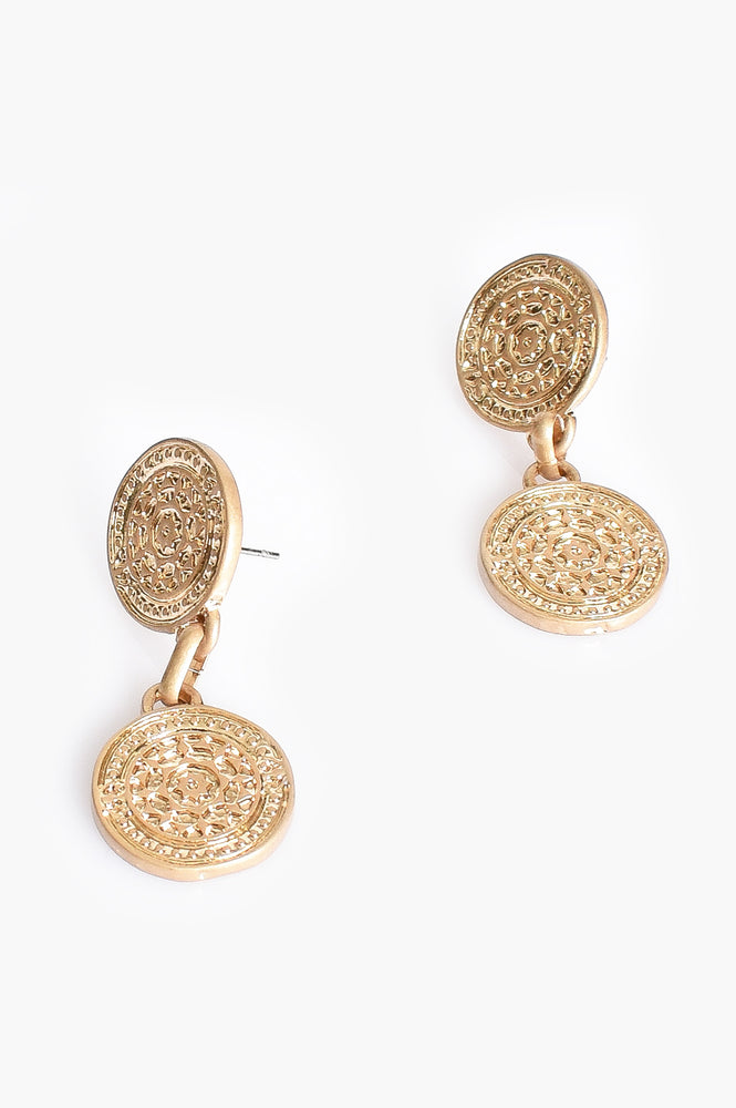 Double Ancient Disc Earrings (Gold)