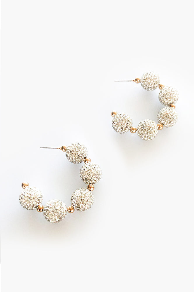 Diamante Ball Open Hoop Earrings (Gold/Crystal)