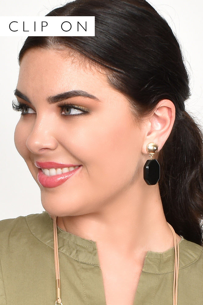 Facet Edge Resin Drop Clip On Earrings (Tan/Gold)