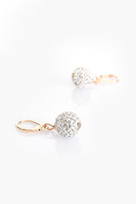 French Hook Diamante Ball Earrings (Gold/Crystal)