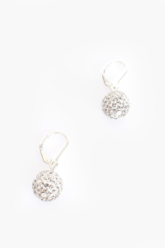 French Hook Diamante Ball Earrings (Silver/Crystal)