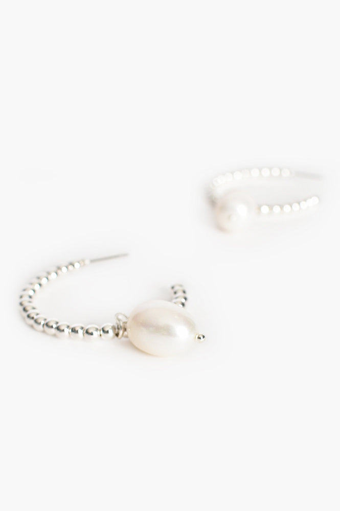 Fresh Water Pearl Drop Ball Hoop Earrings (Cream/Silver)
