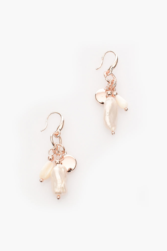 Fresh Water Pearl Cluster Earrings (Rose/Cream)