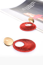 Woven Open Circle Drop Earrings (Berry/Gold)