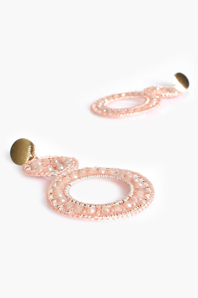 Bead Crochet Circles Earrings (Pink/Gold)