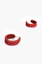 Woven Oval Hoop Front Earrings (Berry)