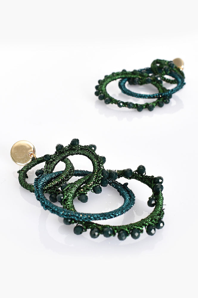 Crochet Bead Circle Links Earrings (Green/Gold)