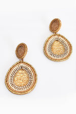 Beaded Jewel Drop Earrings (Camel/Gold)