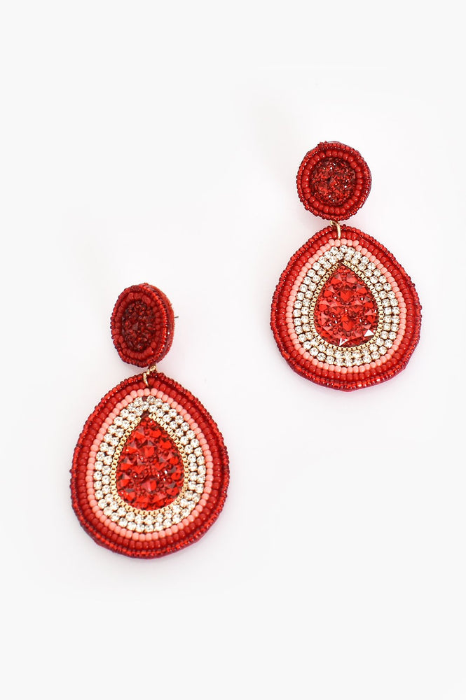 Beaded Jewel Drop Earrings (Red/Gold)