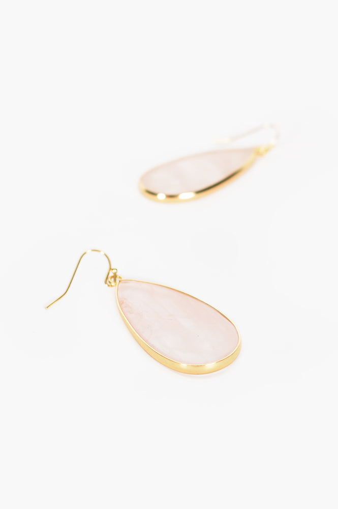 Stone Teardrop Hook Earrings (Pink)