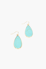 Stone Teardrop Hook Earrings (Turq)