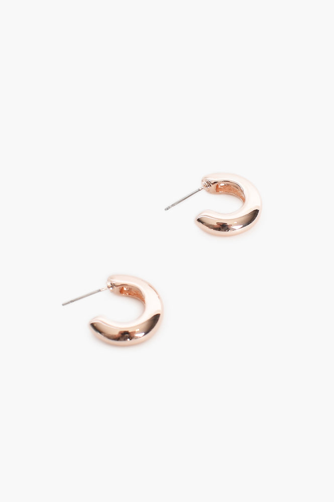 Small Chunky Hoop Front Earrings (Rose)