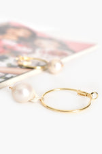 Baroque Pearl Drop Hoop Earrings (Cream/Gold)