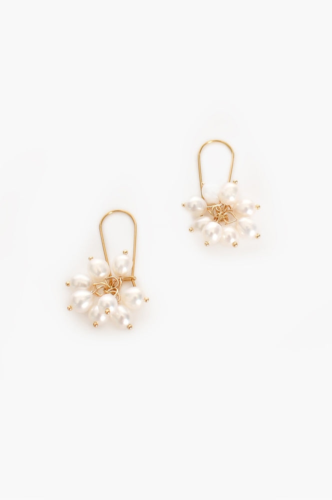 Freshwater Pearl Cluster Hook Drop Earrings (Cream/Gold)