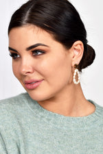 Freshwater Pearl Loop Drop Earrings (Cream/Gold)