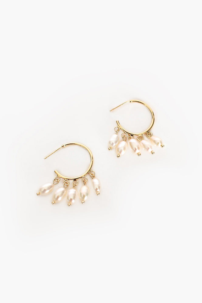Mini Hoop Freshwater Pearl Drop Earrings (Cream/Gold)