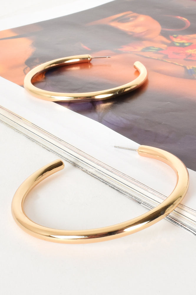 Fine Tube Hoop Earrings (Gold)