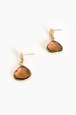 Mini Glass Drop Beaten Button Top Earrings (Gold/Camel)