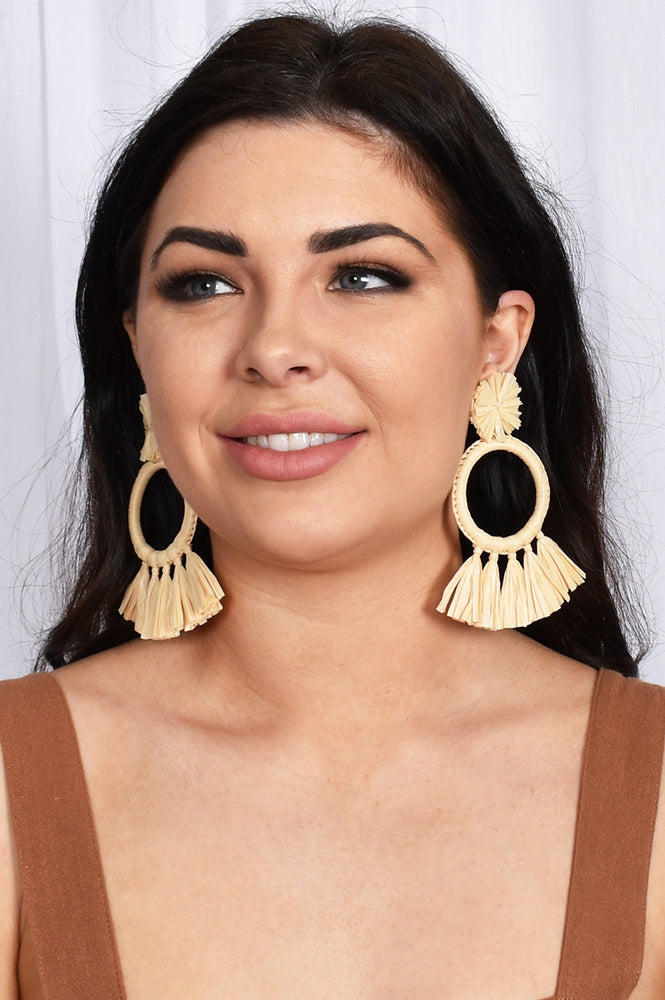 Raffia Ring Tassels Earrings (Natural)