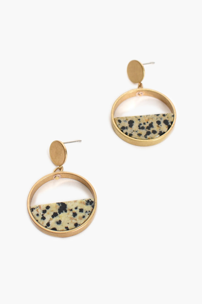 Half Stone Circle Drop Earrings (Gold)