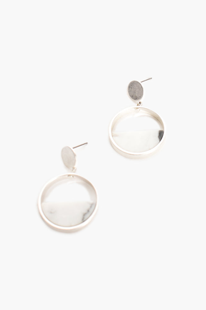 Half Stone Circle Drop Earrings (Silver)