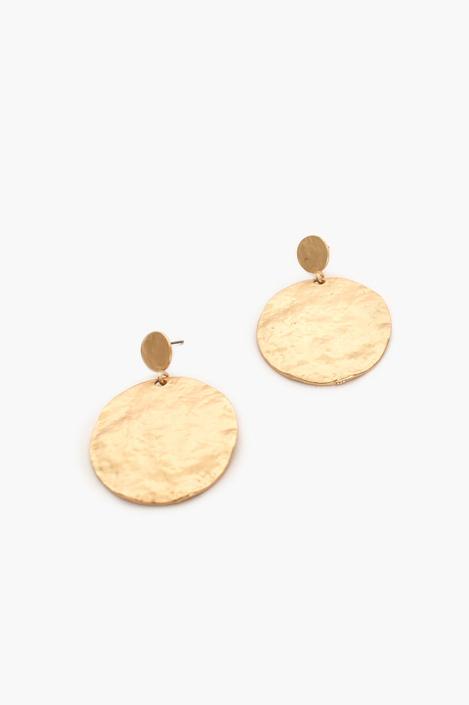 Statement Beaten Disc Earrings (Gold)