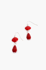 Simple Bead Hook Earrings (Red)