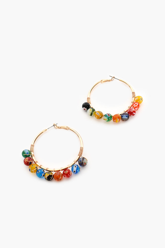 Colour Pop Bead Drop Hoop ( Multi)