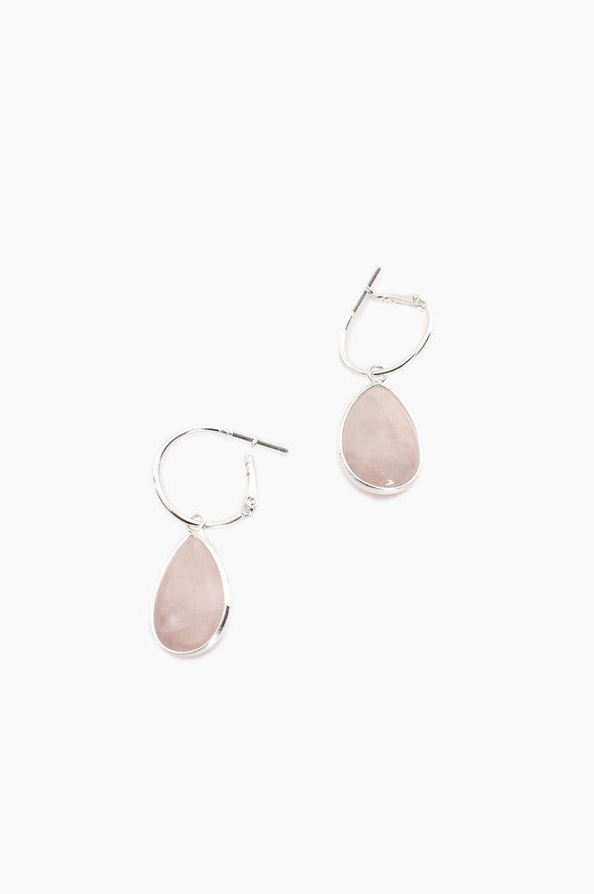 Quartz Drop Mini Hoop Earrings (Silver)