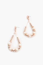 Pearl Metal Bead Loop Earrings (Rose)