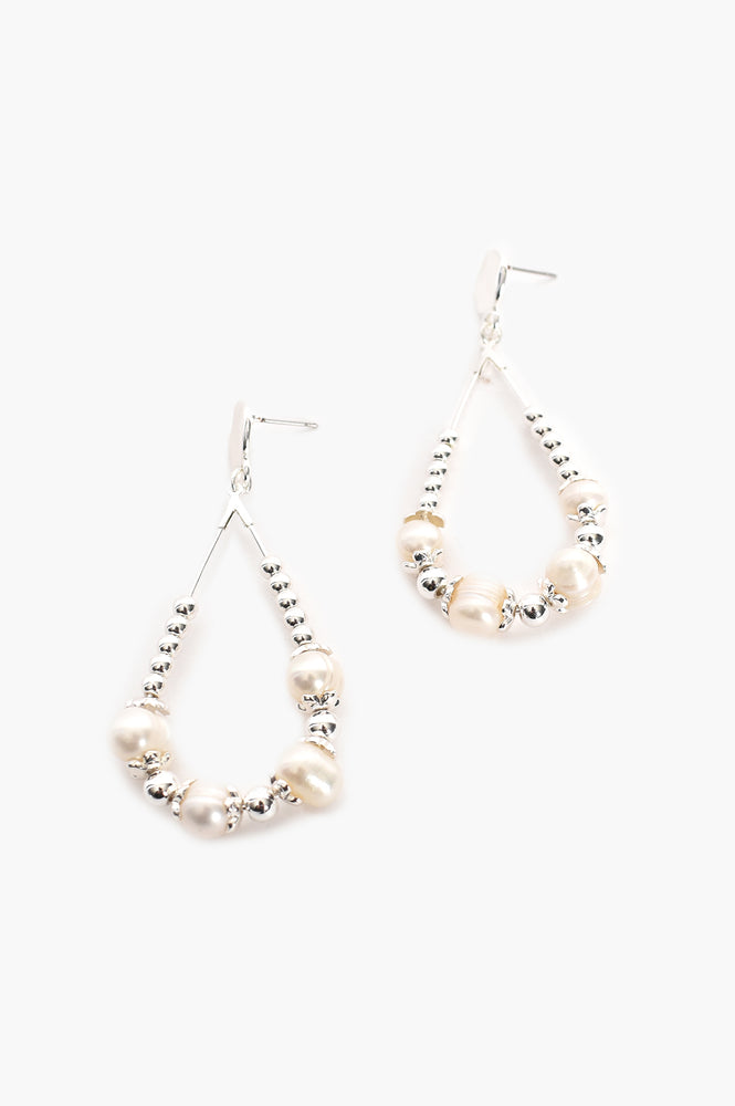Pearl Metal Bead Loop Earrings (Silver)