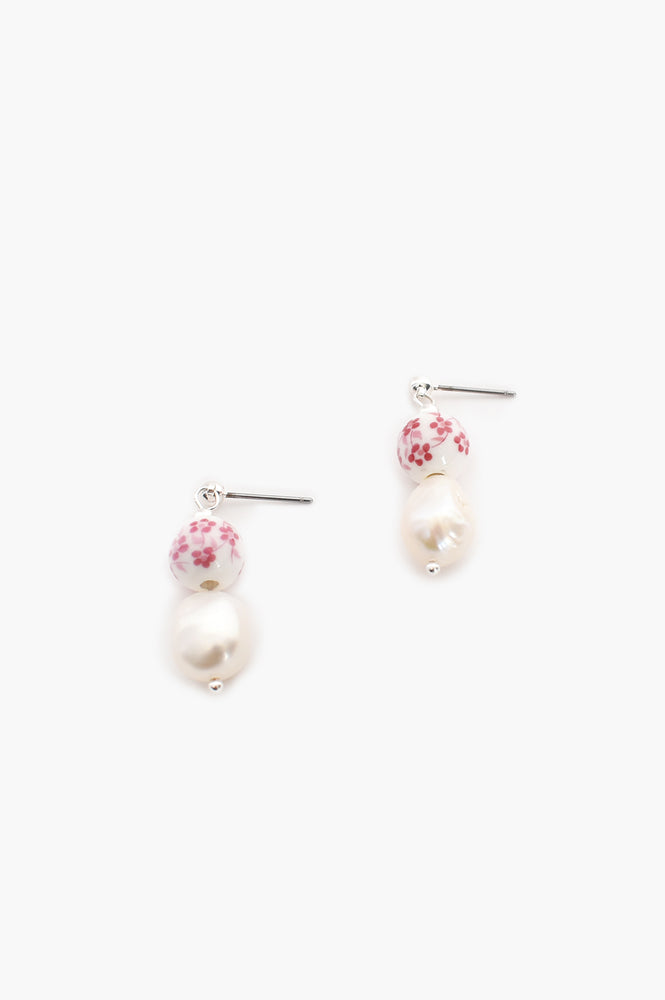 Pattern Bead Pearl Drop Earrings (Pink/Cream)