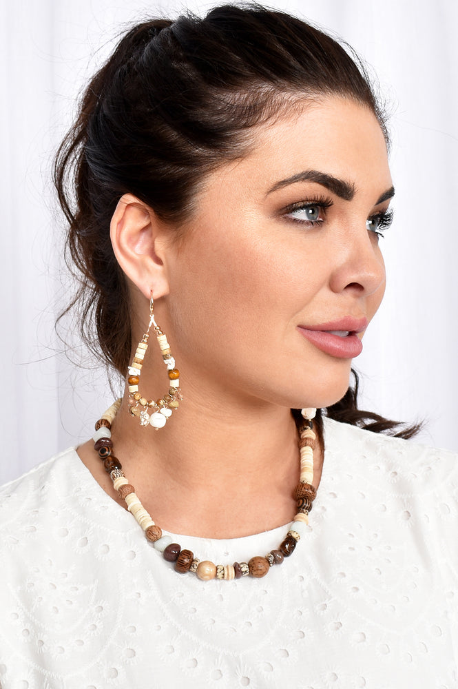 Boho Girl Stone Mix Earrings (Cream)