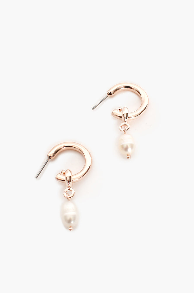 Pearl Drop Mini Hoop (Rose/Cream)
