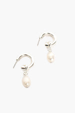 Pearl Drop Mini Hoop (Silver/Cream)