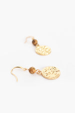 Stone Beaten Metal Hook Earrings (Gold/Tan)