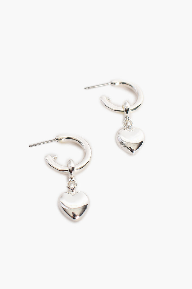Heart Drop Mini Hoop (Silver)