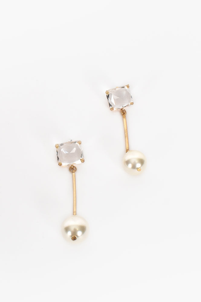 Freshwater Pearl Rod Drop Earrings (Gold/Cream)