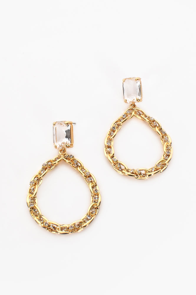 Diamante Chain Ring Glass Top Earrings (Clear/Gold)