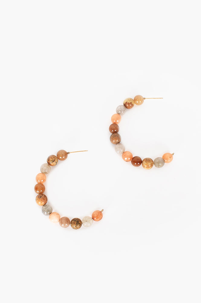 Natural Stone Hoop Earrings (Pastel)