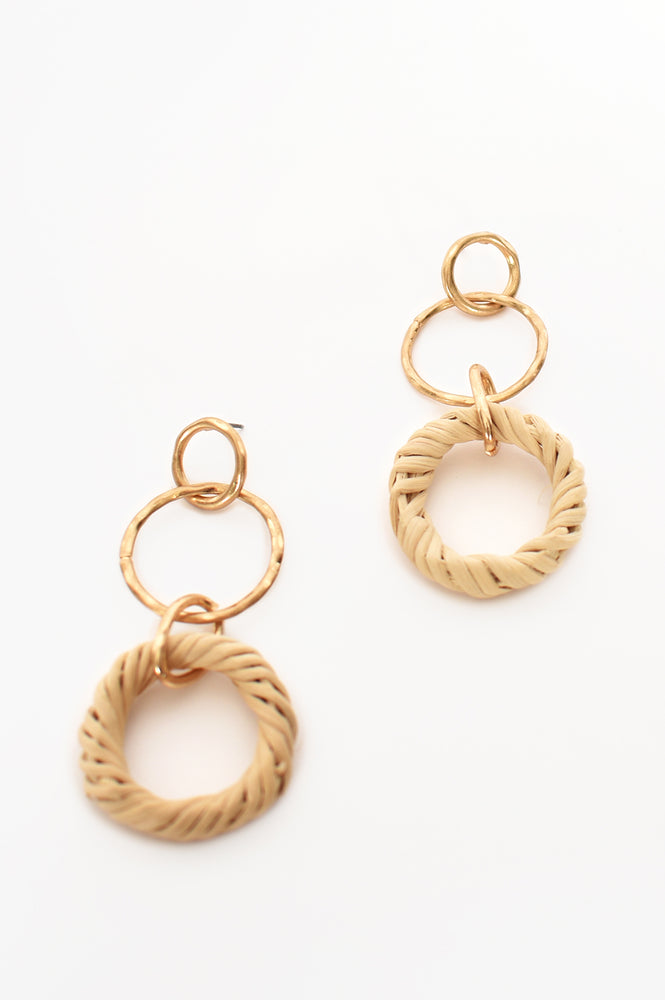 Rattan Ring Drop Earrings (Natural/Gold)