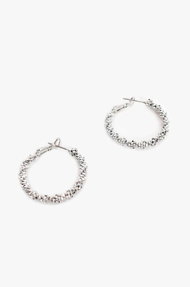 Mini Twisted Hoop Earrings (Silver)