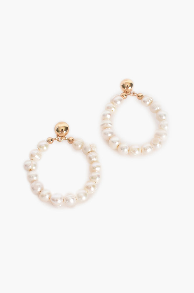Freshwater Pearl Hoop Front Earrings (Cream)