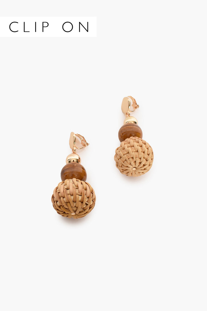 Weave Ball Drop Clip On Earrings (Tan)