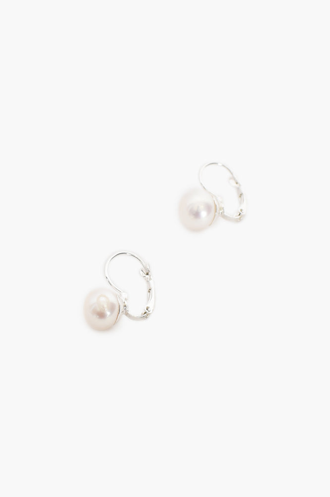 Freshwater Button Pearl Hook Earrings (Silver/Cream)