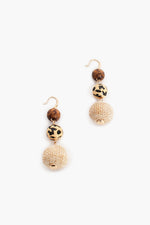 On Safari Ball Drop Earrings (Natural/Tan)