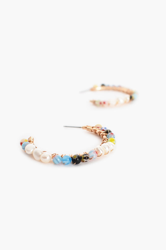 Pearl & Multi Bead Hoops (Multi/Cream)
