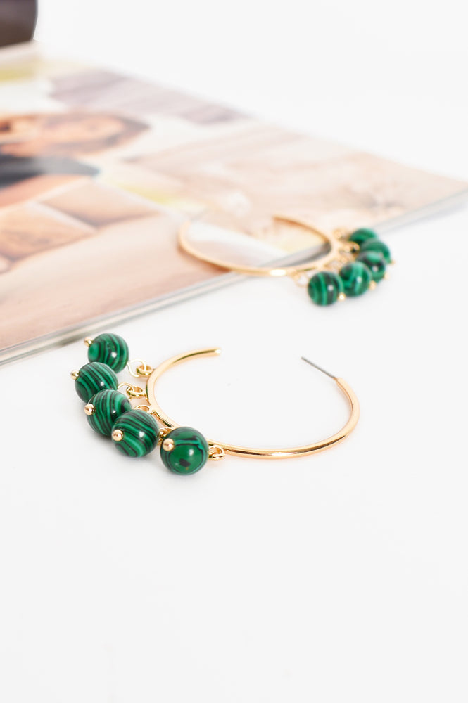 Bead Drops Hoop Earrings