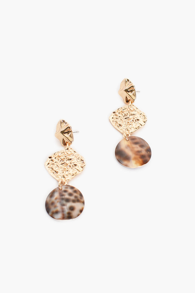 Beaten Metal Resin Drop Earrings( Gold, Tortoise)