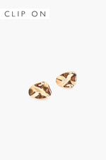 Moulded Metal Clip On Earrings (Gold)
